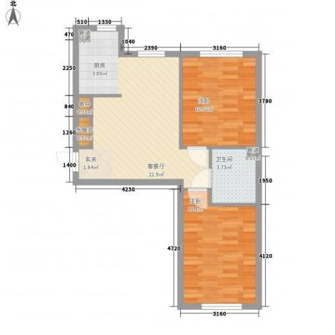 万亿香橙2室1厅1卫0厨70.00㎡户型图