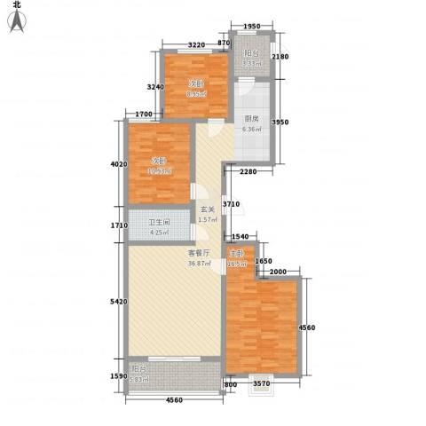 理想城小区3室1厅1卫0厨126.00㎡户型图