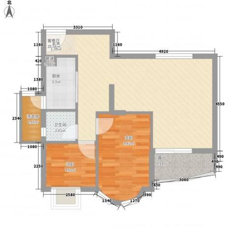嘉辉豪庭2室1厅1卫1厨73.00㎡户型图