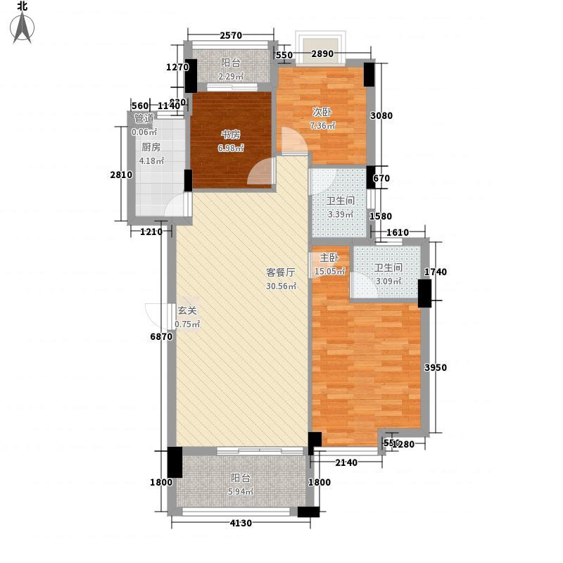 联发尚品112.00㎡1#标准层B户型3室2厅2卫1厨