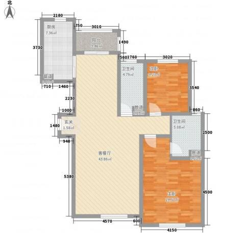 南海佳园 花溪别墅2室1厅2卫1厨106.93㎡户型图