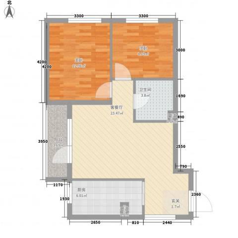 富教小区2室1厅1卫1厨83.00㎡户型图