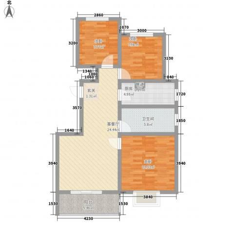 港丽城3室1厅1卫1厨102.00㎡户型图