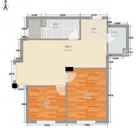 保利花园三期双河城2室1厅1卫1厨81.00㎡户型图