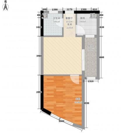 绿苑滨海国际公寓1室1厅1卫1厨51.00㎡户型图