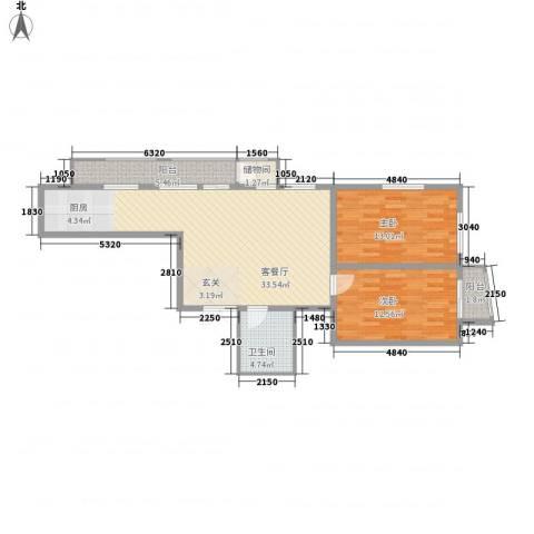 鑫隆帝豪2室1厅1卫0厨72.37㎡户型图