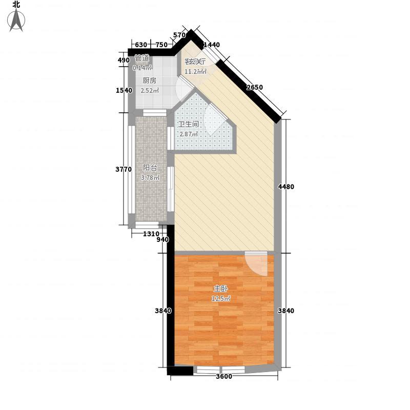 绿苑滨海国际公寓55.10㎡B户型1室1厅1卫1厨