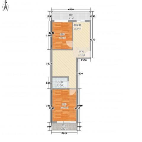 育阳小区2室0厅1卫1厨64.00㎡户型图
