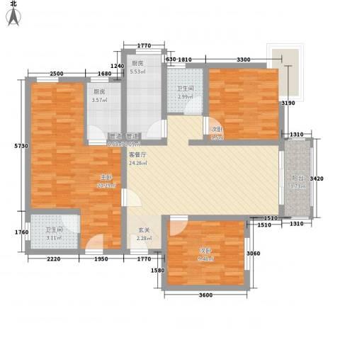 宁江公寓3室1厅2卫2厨120.00㎡户型图