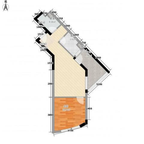 绿苑滨海国际公寓1室1厅1卫1厨58.00㎡户型图