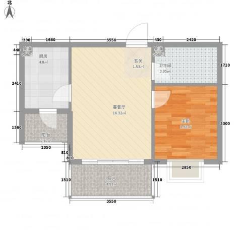 菁华时代1室1厅1卫1厨57.00㎡户型图