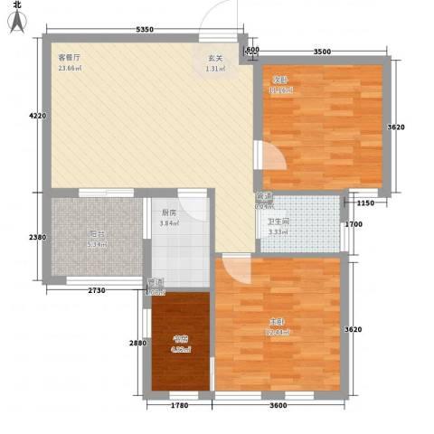 绿城翡翠湾3室1厅1卫1厨89.00㎡户型图