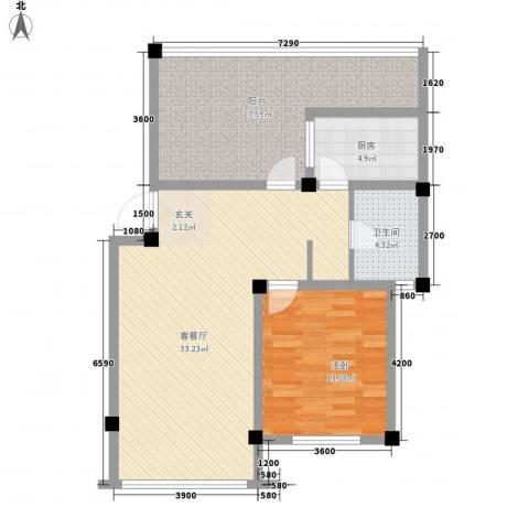 新港名兴花园1室1厅1卫1厨73.31㎡户型图