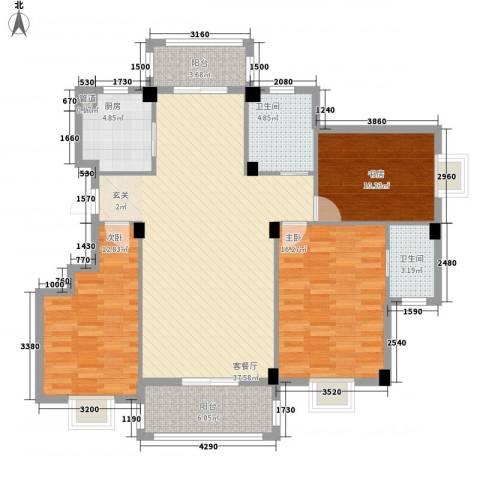 万景梅庭3室1厅2卫1厨140.00㎡户型图
