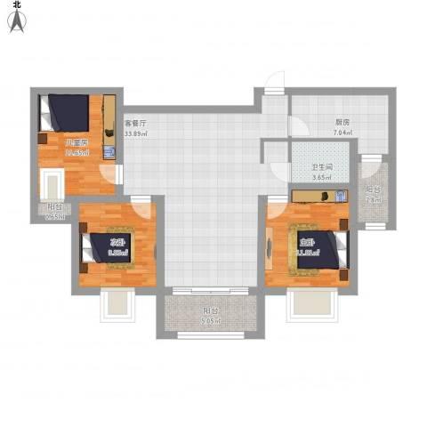 香堤雅郡3室1厅1卫1厨128.00㎡户型图