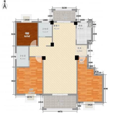 万景梅庭3室1厅2卫1厨143.00㎡户型图