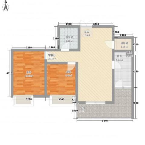 新天地东区2室1厅1卫1厨99.00㎡户型图