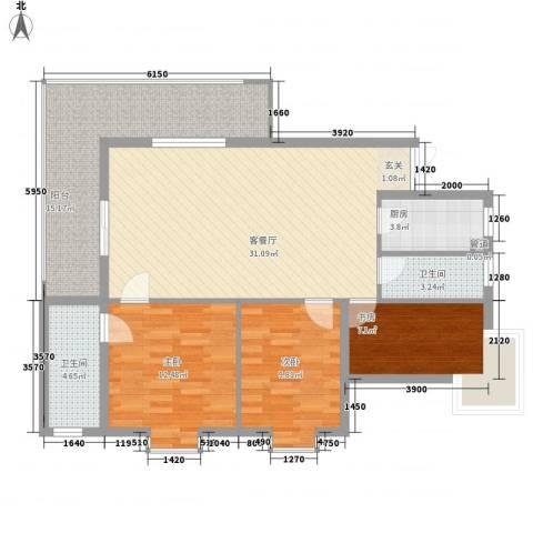 兴海苑3室1厅2卫1厨122.00㎡户型图