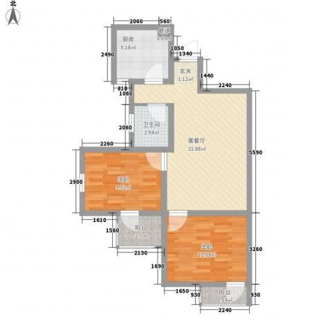兴海苑2室1厅1卫1厨80.00㎡户型图