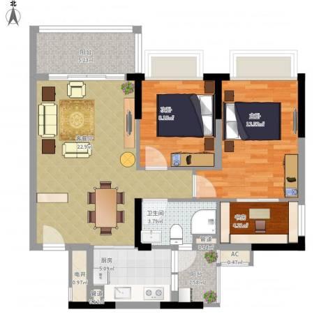 恒大山水城别墅3室1厅1卫1厨96.00㎡户型图