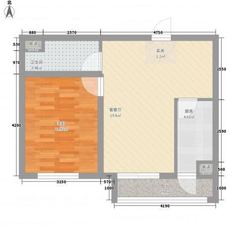 卓达・太阳城1室1厅1卫1厨42.68㎡户型图