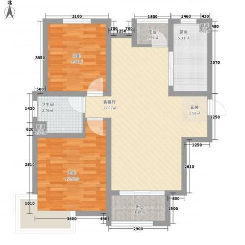 卓达・太阳城2室1厅1卫1厨88.00㎡户型图
