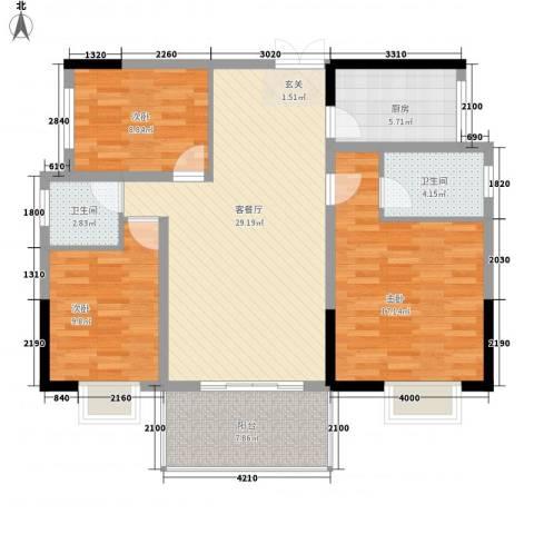 阳光城3室1厅2卫1厨114.00㎡户型图