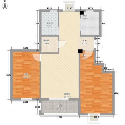 万景梅庭2室1厅1卫1厨110.00㎡户型图