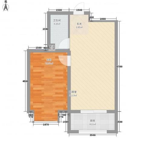 新城雅苑二期1室0厅1卫1厨60.00㎡户型图