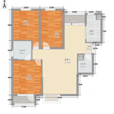 名品建筑3室1厅2卫1厨117.00㎡户型图