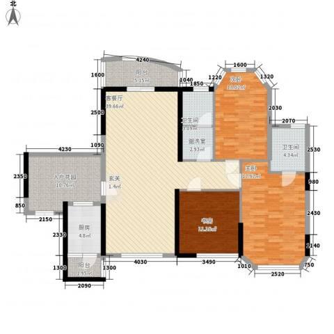 东逸翠苑3室1厅2卫1厨129.65㎡户型图