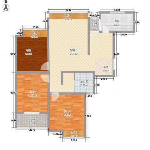 人民家园二期3室1厅1卫1厨125.00㎡户型图