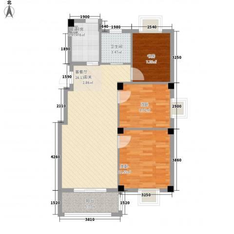 万景梅庭3室1厅1卫1厨93.00㎡户型图