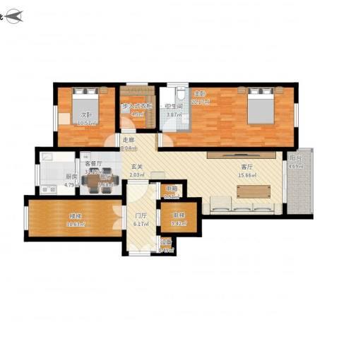上东阳光2室1厅1卫1厨148.00㎡户型图