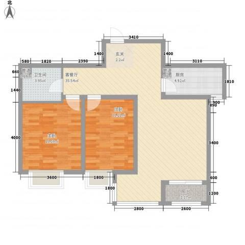 卓达・太阳城2室1厅1卫1厨71.27㎡户型图