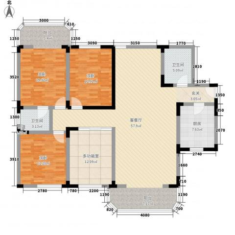 华脉新村3室1厅2卫1厨186.00㎡户型图