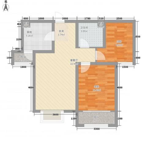 卓达・太阳城2室1厅1卫1厨79.00㎡户型图