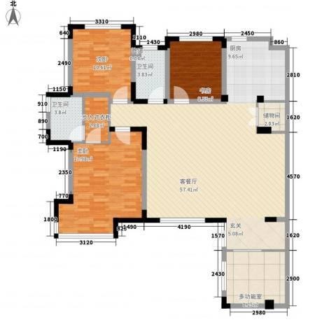 北路二村3室1厅2卫0厨162.00㎡户型图