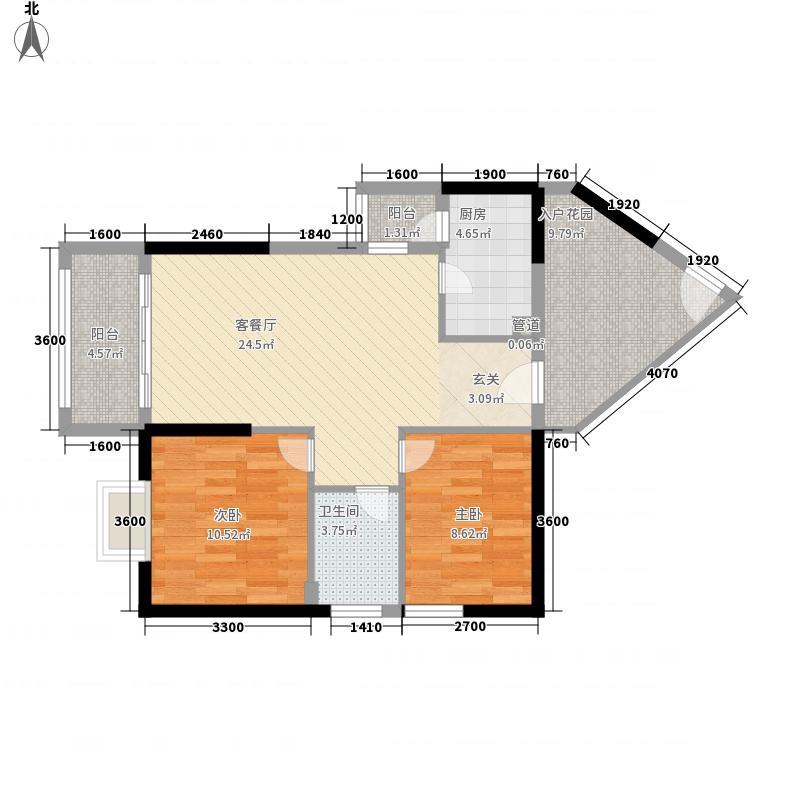 中建华府85.37㎡项目F6―01户型2室2厅1卫1厨