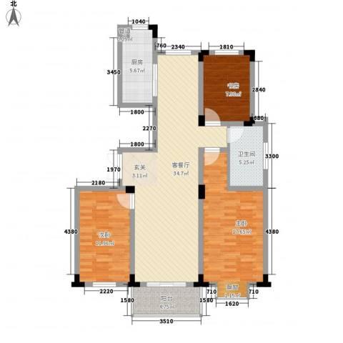 四季新城北苑3室1厅1卫1厨126.00㎡户型图
