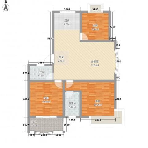 正大明泉花园3室1厅2卫0厨125.00㎡户型图