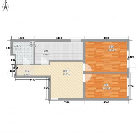阳光馨苑2室1厅1卫1厨77.00㎡户型图