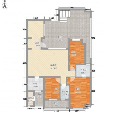 万科城市高尔夫花园3室1厅2卫1厨145.00㎡户型图