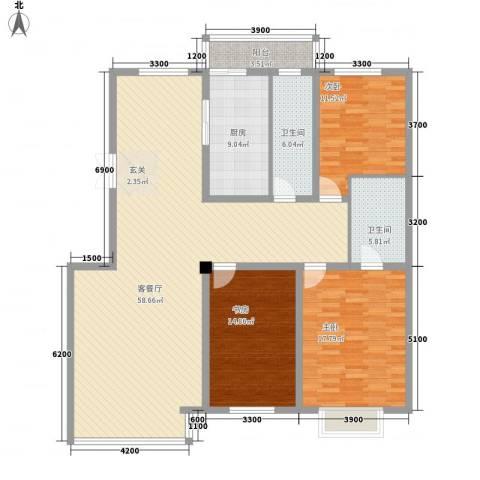 心海阳光3室1厅2卫1厨170.00㎡户型图