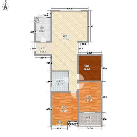 人民家园二期3室1厅1卫1厨128.00㎡户型图