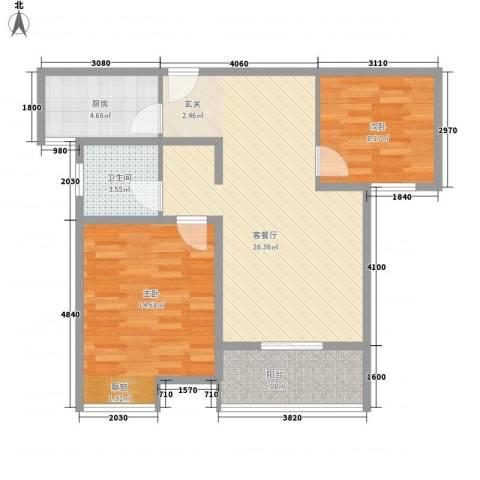 人民家园二期2室1厅1卫1厨88.00㎡户型图