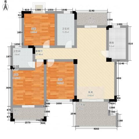 泰和天成3室1厅2卫1厨123.00㎡户型图