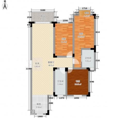 四季新城北苑3室1厅2卫0厨135.00㎡户型图