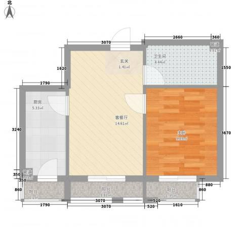 丹麦小镇1室1厅1卫1厨50.00㎡户型图