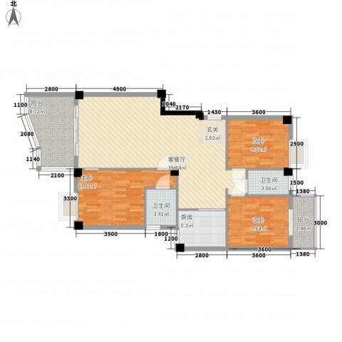 联发新天地3室1厅2卫1厨130.00㎡户型图
